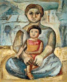 Mãe e filha, 1955, Jenner Augusto (Brasil, 1924- 2003), Óleo sobre tela, 61 x 50 cm