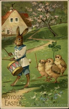 A Drummer Rabbit Leading Dancing Chicks Series 313 A Joyous Easter