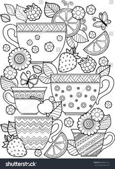 Hand draw vector coloring book for adult. Cups of tea, fruits and flowers: compre este vector en Shutterstock y encuentre otras imágenes. Coloring Book Pages, Coloring Sheets, Book Page Flowers, Mandala Coloring, Printable Coloring, Free Coloring, Doodle Art, How To Draw Hands, Draw Vector