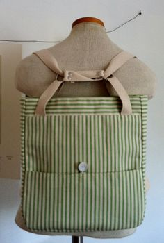 FREE SHIPPING Green Ticking A Day in the Park Backpack Tote on Etsy, $65.00