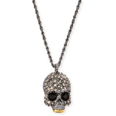 Alexis Bittar Elements Crystal Skull Pendant Necklace ($150) ❤ liked on Polyvore featuring jewelry, necklaces, silver, crystal skull pendant, skull necklace, pave crystal necklace, chain necklace and skull jewelry