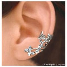 Spring Leaf ear cuffs, Sterling Silver earrings Silver ear cuff Clip... ❤ liked on Polyvore featuring jewelry, earrings, sterling silver ear cuff, oxidized silver earrings, sterling silver leaf earrings, long earrings and sterling silver clip earrings