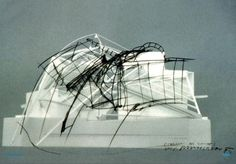 Sketch by Coop Himmelb(l)au over photo of model. Falkestrasse rooftop conversion created for a law firm, Many of these sketches were d. Architecture Drawings, Architecture Details, Interior Architecture, Deconstructivism, Model Sketch, Arch Model, Roof Light, Himmelblau, 3d Models