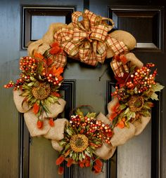 etsy wreaths | Handmade Burlap Wreath by StancilHouseDesigns on Etsy