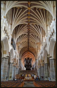 The nave of Exeter Cathedral in England Sacred Architecture, Cathedral Architecture, Religious Architecture, Amazing Architecture, Architecture Details, Exeter Cathedral, Cathedral Church, Place Of Worship, Beautiful Buildings