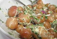 Újkrumpli saláta melegen Potato Recipes, Salad Recipes, Potato Salad, Shrimp, Salads, Food And Drink, Potatoes, Vegetables, Ethnic Recipes