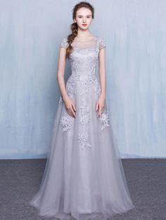 Fabulous A-line Scoop Neck Tulle Floor-length Appliques Lace Short Sleeve Prom Dresses