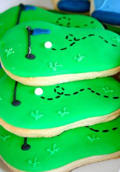 Golf Party Putting Green Cookies.... An older birthday for Mad Jack!