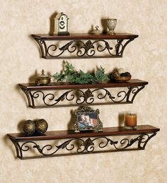 Wooden Iron Wall Shelf Wall Bracket Floating Wall Shelves Set of 3 for Home Deco Wrought Iron Shelf Brackets, Wrought Iron Decor, Iron Wall Decor, Wall Shelf Decor, Wall Decor Design, Wall Brackets, Chair Design, Wooden Wall Shelves, Wall Shelves Design