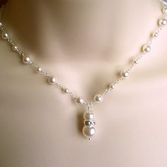 Sterling silver pearl Y necklace bridal wedding by TJWeddingJewelry on Etsy  #etsywedding