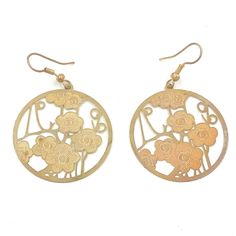 Golden Flower Pendant Copper Dangle Earrings for Women Teen Girl Gold Color Hook #Dangle #Earrings