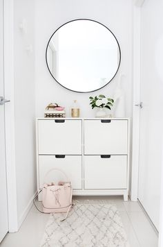My Hallway Nook Makeover — Adore Home Magazine I recently tackled a small, underused nook in my apartment, with a fresh makeover. Now a spot for storing shoes, keys and handbag, it's now a practical yet stylish space in my home. I think you'll find in m Ikea Duktig, Ikea Algot, Hallway Storage, Ikea Storage, Storage Ideas, Ikea Hallway, Hallway Cabinet, Entry Hallway, Apartment Entryway