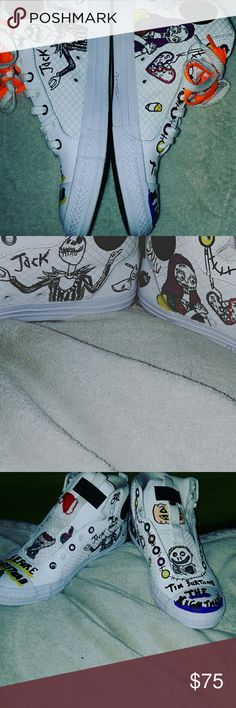 Chucky Taylor's,converse,canvas,leather size 6 Size 6 youth Chuck Taylor's,converse,canvas,leather print,no box,no staining,no tags,no holes,no burms,no snags,no tares,no pen,marker or of bleach stains or marks,no tags no box,pet free,smoke free,One of a kind Nightmare Before Christmas customs,will not be doing these same ones again,please no low ballers,serious inquiries only,some offers might be nogotiable,thanks again and be well Converse Shoes Sneakers