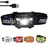 three trees Sensor Brightest LED -With Red Light Rechargeable Headlamp Flashlight for Kids Men and Women,Waterproof Perfect for Running, Walking,Reading,Camping Adjustable in 200 Lumens (orange) Head Flashlight, Bait And Tackle, Thing 1, Fishing Supplies, Solar Charger, Led Headlights, Kids Reading, Trees, Running
