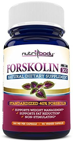 [ 40% Forskolin ] - nutribody Pure Forskolin Coleus Forskohlii Root Extract - 90 Count 300 mg PER Capsule, 90 Day Supply, Maximum Strength Natural Weight Loss Supplement, Belly Fat Burner. 100% Money Back Guarantee! No Risk - Lose Weight or Your Money Back! NUTRIBODY