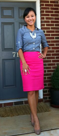 Cute for work....I may try with a coral skirt and grey jean button blouse
