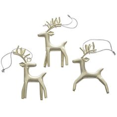 Set of 3 Rustic Silver Reindeer Ornaments in Christmas Ornaments | Crate and Barrel