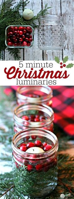 5 minute DIY Christmas luminaries   Quick and easy Christmas decorating. Whip up these floating candles with cranberries and cedar for a stunning table centerpiece. by mamacormier