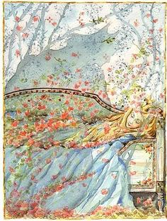 Sleeping Beauty in Blue Maj Fagerberg. Illustration from Swedish fairytale