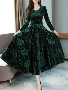 Women's Floral Print Long Sleeve Midi High Waist Patchwork Simple Slim A Line Dress Crew Neck Dre. - Women's Floral Print Long Sleeve Midi High Waist Patchwork Simple Slim A Line Dress Crew Neck dresses Winter Dresses, Spring Dresses, Day Dresses, Party Wear Dresses, Club Dresses, Party Dress, Elegant Dresses, Casual Dresses, Fashion Dresses