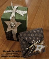 """Handmade Christmas gift packaging using Stampin' Up! products - Many Merry Stars Simply Created Kit, Gift Box Punch Board, Under the Tree Specialty Designer Series Paper, Sequin Trim, Metallic Baker's Twine, 1/4"""" Circle Handheld Punch, and 5/8"""" Chevron Ribbon.  By Michele Reynolds, Inspiration Ink, http://inspirationink.typepad.com/inspiration-ink/2014/12/gift-bags-and-gift-boxes-ideas.html."""