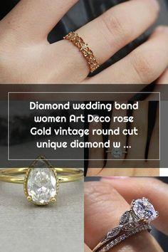 Diamond wedding band women Art Deco rose Gold vintage round cut unique diamond wedding ring jewelry Wedding Rings Teardrop, Diamond Wedding Rings, Wedding Bands, Female Art, Art Deco, Rose Gold, Engagement Rings, Crystals, Unique