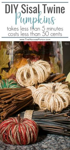 DIY Sisal Twine Pumpkins   How to make dual colored twine pumpkins   Easy and budget friendly DIY fall decoration   Dollar store crafts   TheNavagePatch.com