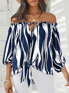 Casual Tops For Women, Blouses For Women, Women's Blouses, Cute Blouses, Blue And White Blouses, Off Shoulder Tops, Cold Shoulder, Shoulder Strap, Casual Wear
