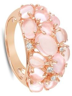 Pink Silver Rose Quartz Diamond Ring - that's purrrrrrty