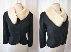 Glamorous 1950's black wool jacket with white mink by wearitagain, $125.00