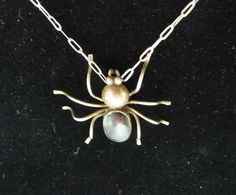 Sterling Silver Spider Pendant Necklace  Black by thejewelseeker