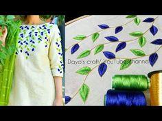 Aari work leaf filling design on kurti - Simple Craft Ideas