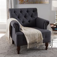 Shop for Baxton Studio Klytie Modern Grey Tufted Armchair. Get free shipping at Overstock.com - Your Online Furniture Outlet Store! Get 5% in rewards with Club O!