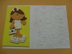 Bonecos enfermeiros em eva com moldes Arabic Alphabet Letters, Foam Crafts, Felt Dolls, Scrap, Marvel, Fictional Characters, Notebook, Fabric Dolls, Study Hacks
