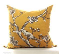 Robert Allen Mustard Yellow Bird Tree Decorative Throw Pillow Cover Case Zipper