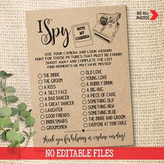 I Spy with my Camera Wedding Game Photo Hunt Reception Activity Party Game rustic games Instant down Wedding Party Games, Wedding Games For Guests, Wedding Shower Games, Rustic Wedding Games, Rustic Games, Wedding Reception, Reception Ideas, Anniversary Party Games, 50th Anniversary