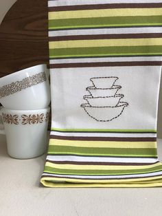 Hand Embroidered Town & Country / Woodland / Rainbow Stripe Cinderella PYREX 4 Stacked Bowls Kitchen Towel Kitchen Decor ***Ready to Ship***