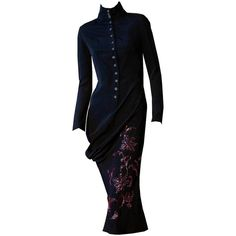 Pre-owned Rare Museum Savage Beauty Alexander McQueen 'Joan of Arc'... ($14,082) ❤ liked on Polyvore featuring dresses, aesthetic evening dresses, evening dresses, black drape dress, black button down dress, black dress, alexander mcqueen dresses and asymmetrical cocktail dress