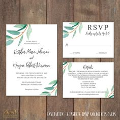 Wedding Invitation Suite, Watercolor Greenery Invitation Suite - PRINTABLE files - elegant suite delicate sprigs leaves sage green - Esther by DIVart on Etsy