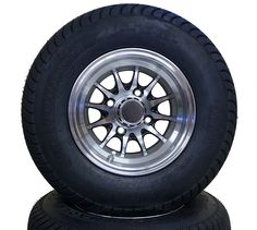 Machined w/ Black Accent Wheel and 205/50-10 CST Low Pro Tire Golf Cart Parts, Black Accents, 50th