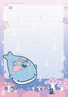 "San-X Jinbesan (""Whale Shark"") ""Underwater Bath"" Memo Memo Template, Pen Pal Letters, Printable Scrapbook Paper, Cute Stationary, Bullet Journal Ideas Pages, Kawaii Wallpaper, Cute Cartoon Wallpapers, Writing Paper, Softies"