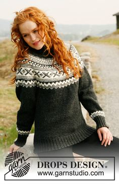 """Knitted DROPS jumper with round yoke and Norwegian pattern in """"Karisma"""".Size: S to XXXL."""