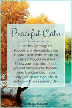 When you are calm inside of yourself, there are so many benefits. You can think more clearly, you make better decisions, and you are less reactive overall. Life is better in general. The other thing that happens is that your thought processes flow more evenly and you are able to think more creatively. Inspiration is easier to receive. So staying peaceful is not just about sitting around doing nothing. It actually makes you happier and more effective in life overall. <3