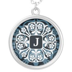Initial J Monogram Letter Pendant Necklace
