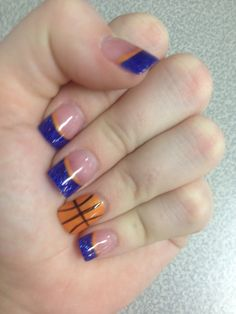 Blue and orange Basketball Solar Nails by Friendly Nails