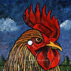 Rooster Painting Chicken Folk Art on Canvas by TaylorArts on Etsy, $250.00