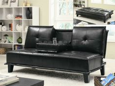A flip down tray table with two cup holders adds extra functionality to this casual contemporary Coaster 300138 Black Contemporary Futon Sofa Bed. Wrapped in durable black leather-like vinyl, the sofa bed features distinctive tailored edging and dark finish feet for a sophisticated look.