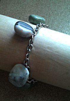 handmade bracelet with semiprecious stones/chain/K.ompo.S- Handmade Jewel