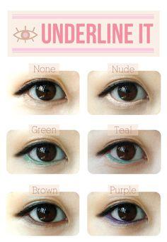 underline with bright eyeliner.