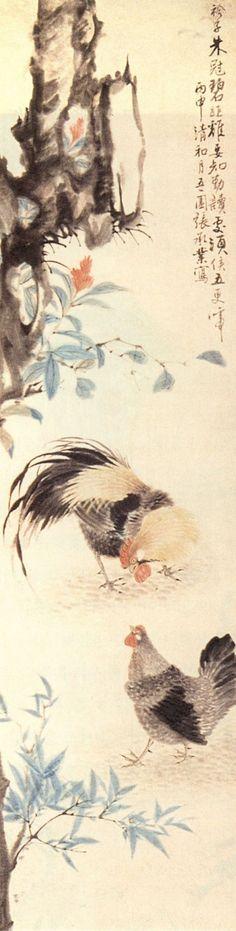 (Korea) Cock & Hen 1896 by Jang Seung-eop (1843-1897). aka Owon. Joseon Kingdom, Korea. colors on paper. Korean painting.